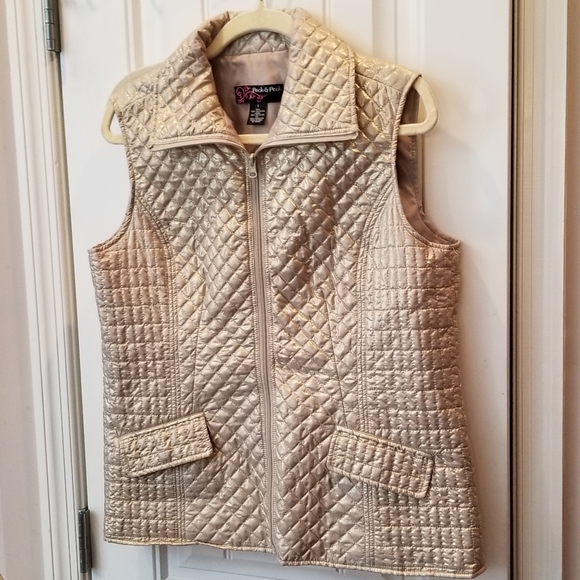 Peck & Peck Jackets & Blazers - Peck & Peck Gold Quilted Vest Sz Large